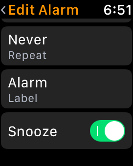 Turn Off Snooze setting for alarm on Apple Watch