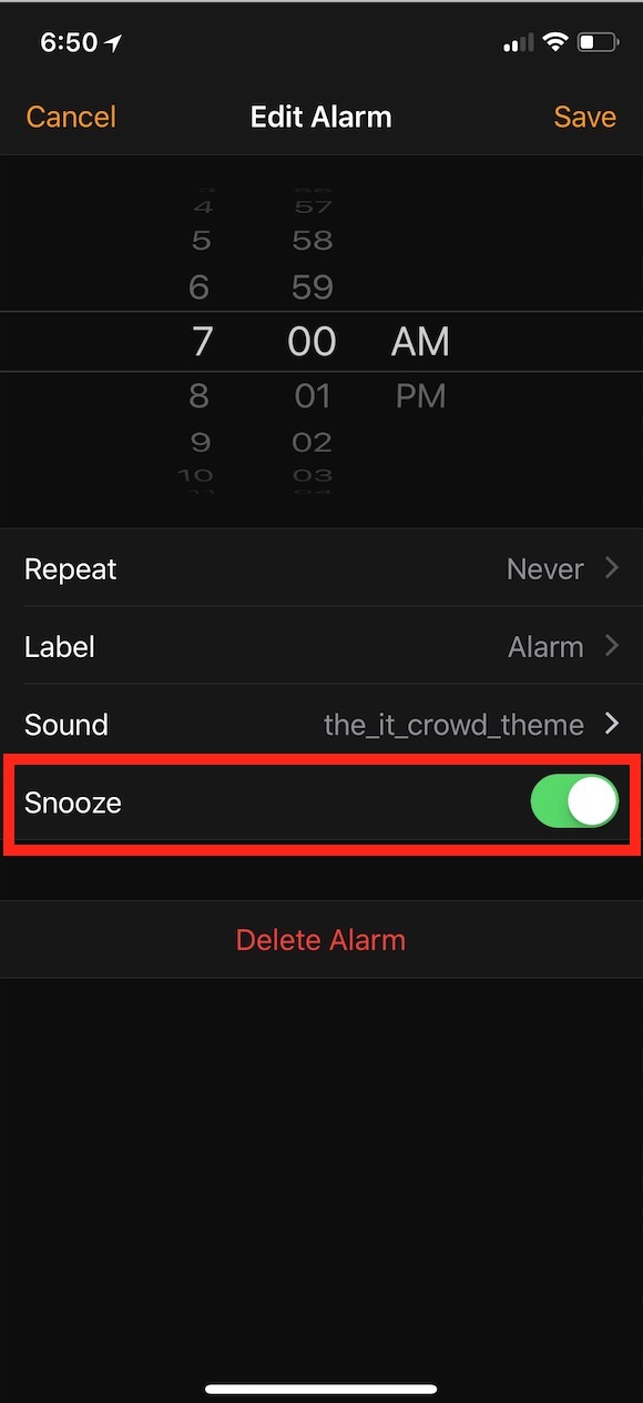 Snooze Button setting within Alarm app on iPhone
