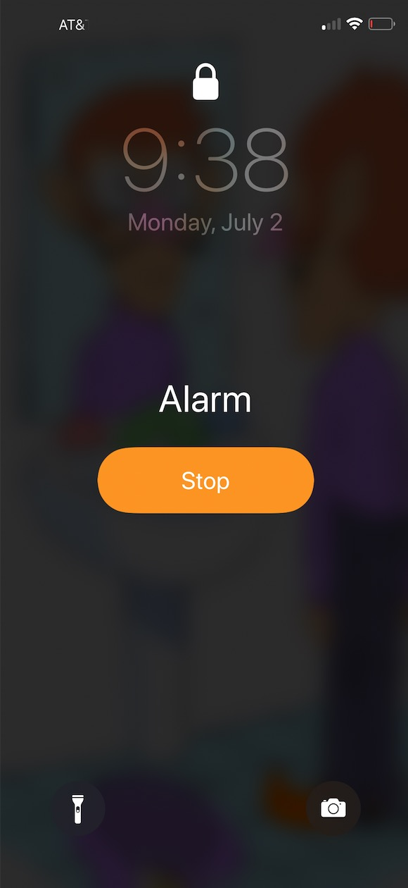 Stop button for Alarm on iPhone