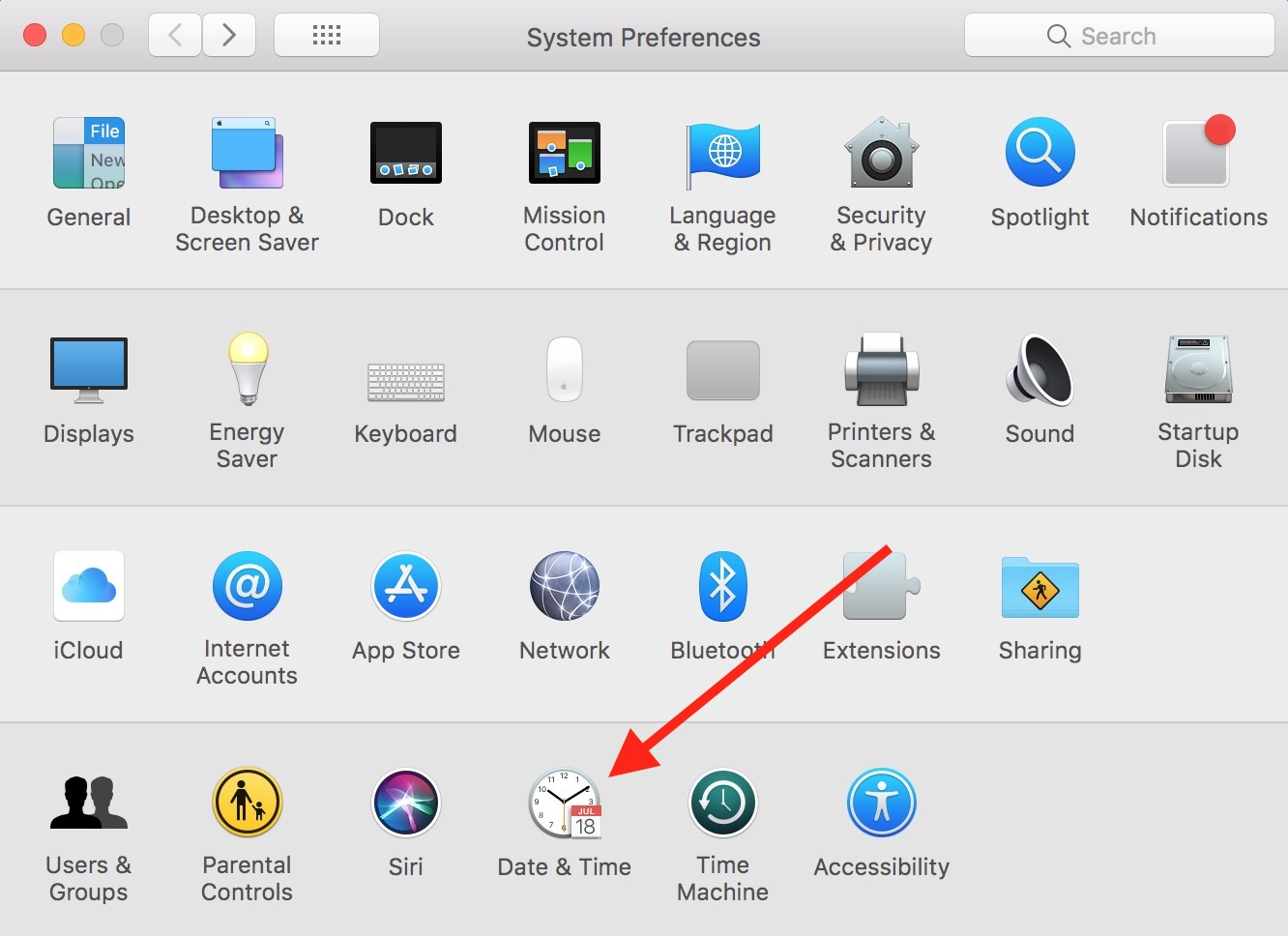 Date & Time in Mac System Preferences
