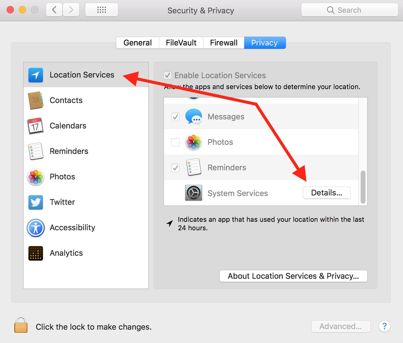 Location Services Options in Mac Security & Privacy settings