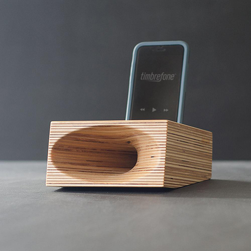 Timbrefone is a smartphone speaker as well as a beautiful piece of wood sculpture.