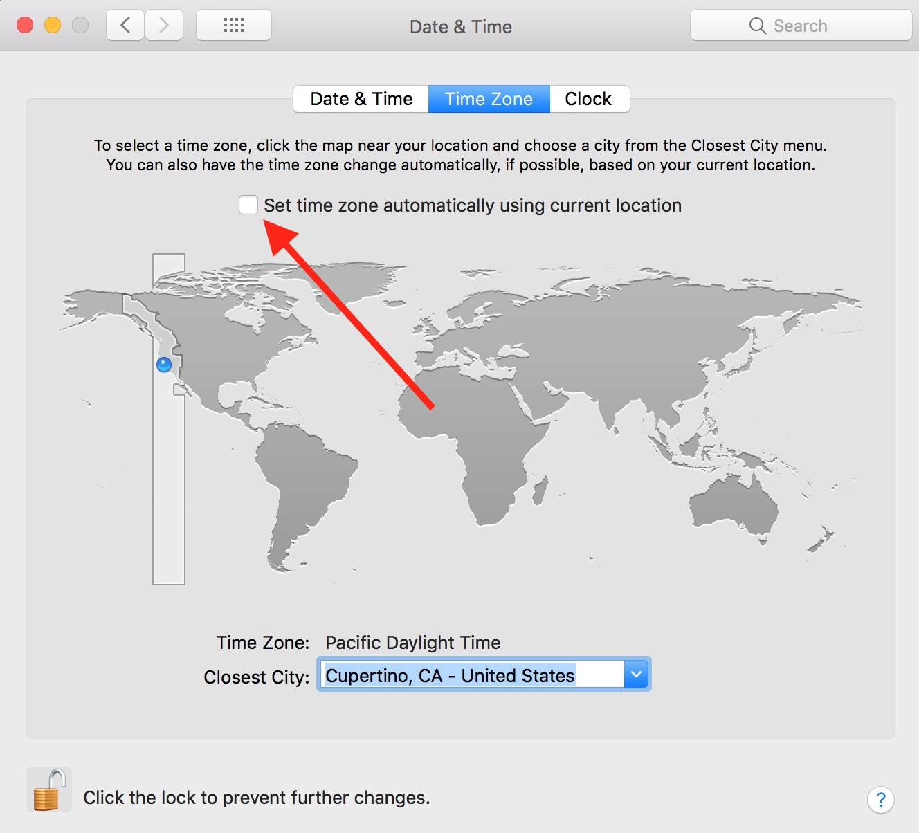 "Deselect ""Set time zone automatically using current location"" in Mac Date & Time preferences to manually set time zone"