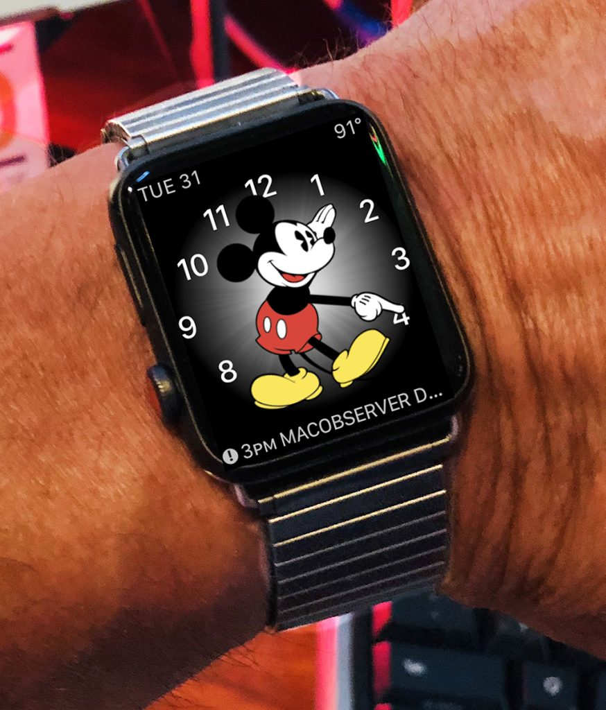 Retro watch face by Apple/Disney; retro watchband by Speidel.