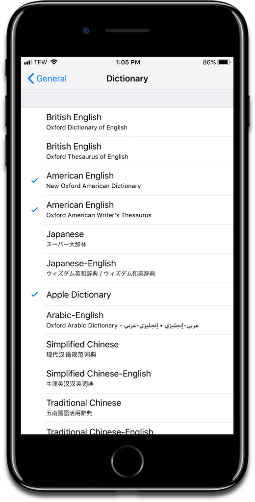 Add a thesaurus in iOS settings.