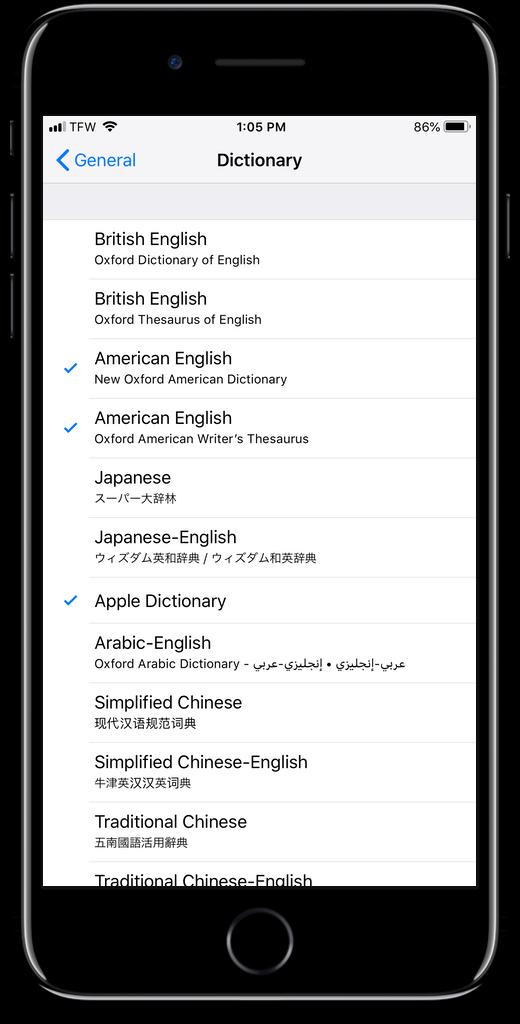 Add a thesaurus in iOS settings.