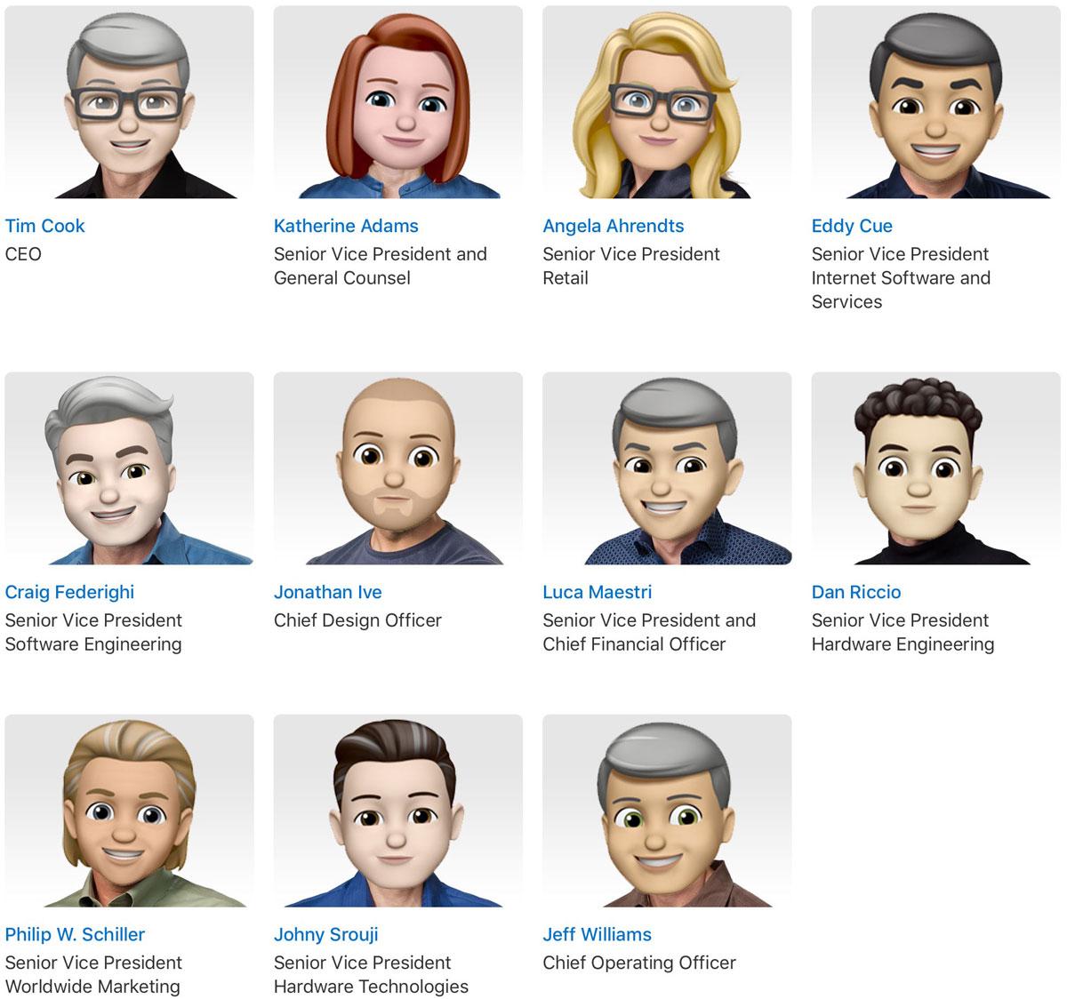 Apple Leadership as Memoji