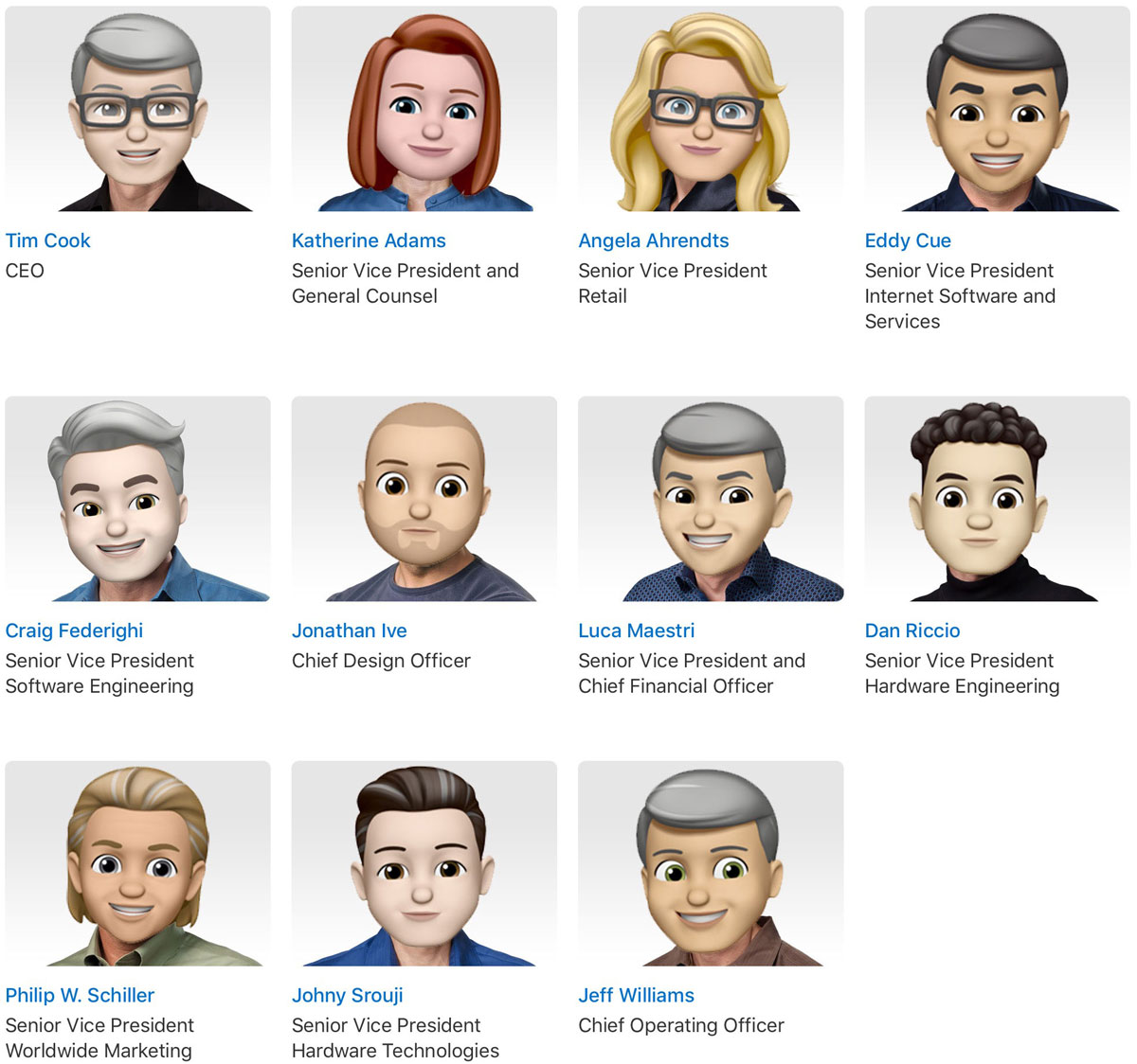 Apple Leadership as Memoji