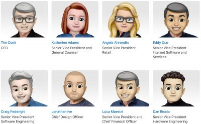 Tim Cook, Angela Arhendts, Eddy Cue, Phil Schiller, and Hair Force One as Memoji