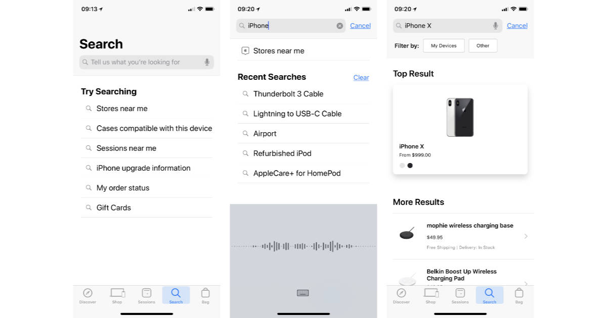 Apple Store app on iPhone with voice search