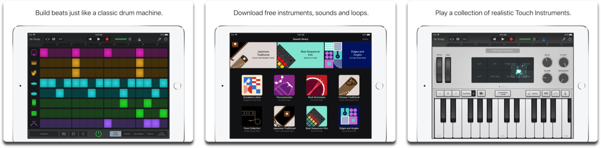 GarageBand on iOS Works With Apple Schoolwork App. Screenshots of GarageBand.