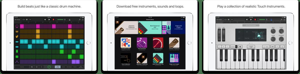 GarageBand on iOS Works With Apple Schoolwork App. Screenshots of GarageBand.
