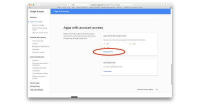 Google Apps with account access settings