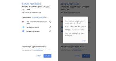 Google account access consent screen