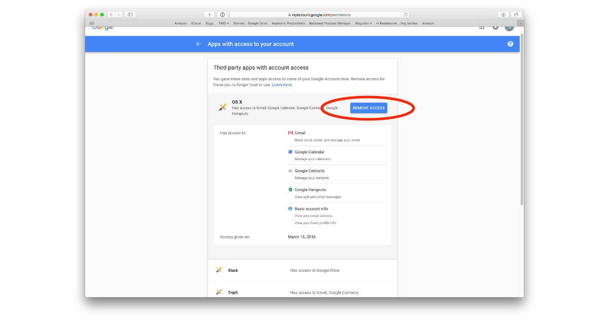 Google settings for revoking account access for apps