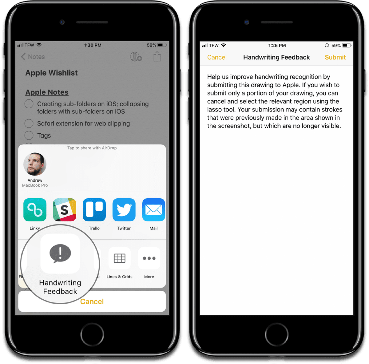 Screenshots of sending handwriting feedback in Apple Notes.