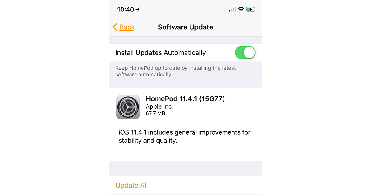 HomePod 11.4.1 Update Screen