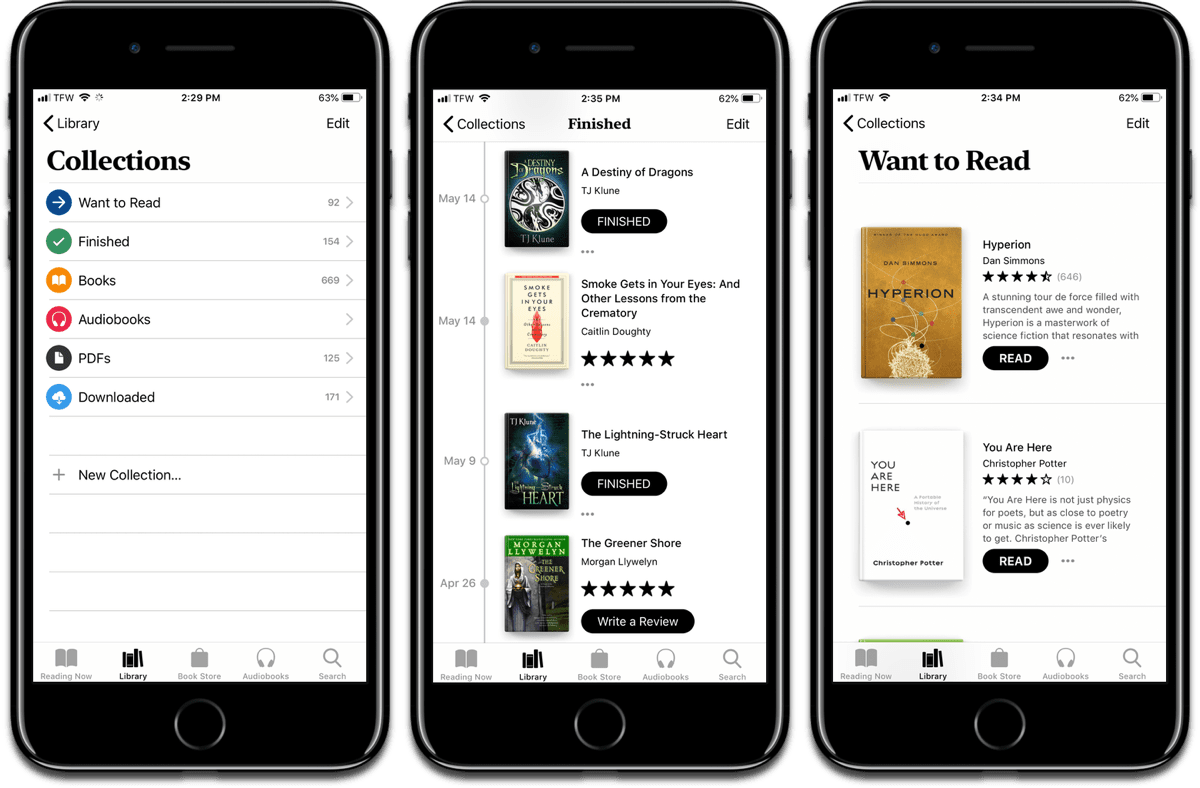 Screenshots of iOS 12 books, with collections, finished list, and want to read list.