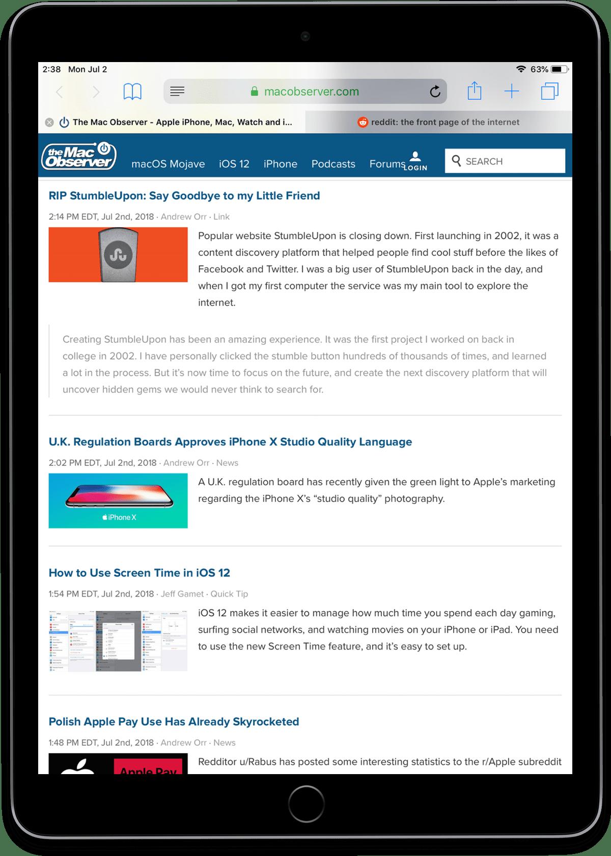 Image of iOS Safari favicons on the iPad.