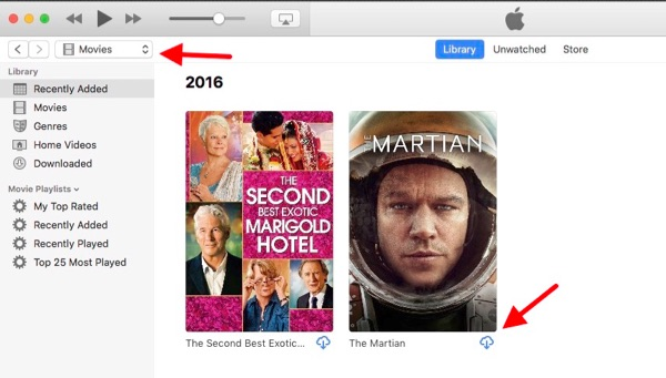 iTunes showing items that have been purchased.