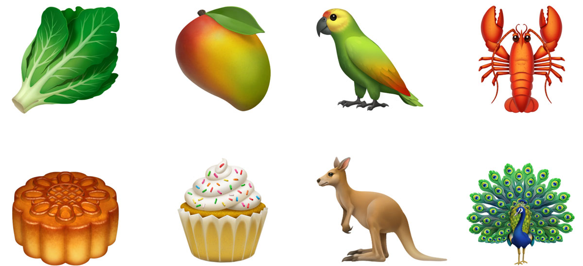 New food and animal emojis in iOS 12