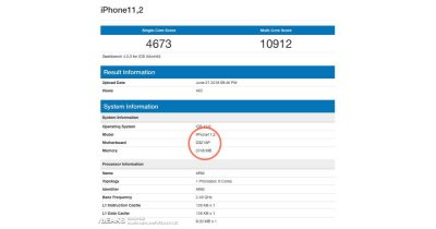 Geekbench results for an iPhone with 4 GB RAM running iOS 12