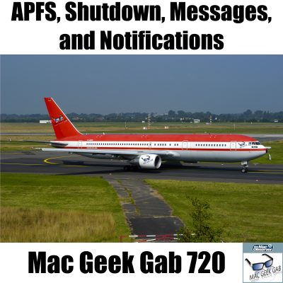 A Boeing 720 with APFS, Shutdown, Messages, And notifications