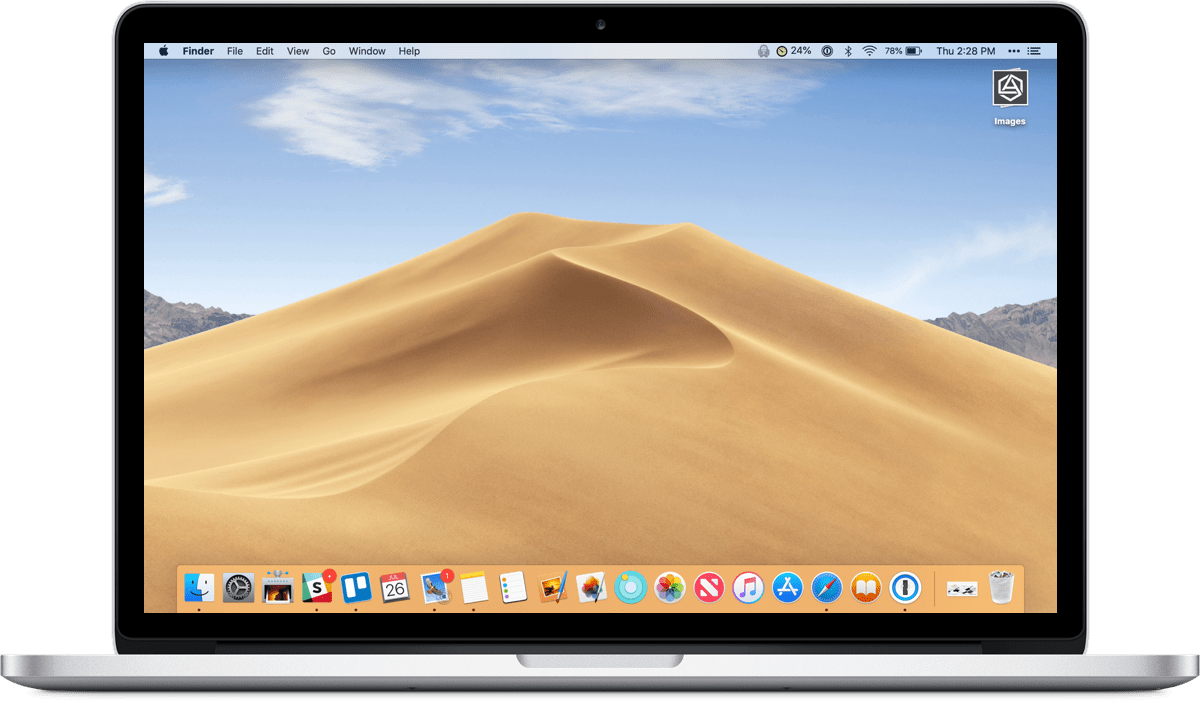 Image of macOS Mojave on MacBook Pro, which new Apple design resources are available for.