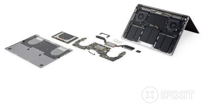 iFixit teardown showing mid-2018 13-inch Touch Bar MacBook Pro in pieces