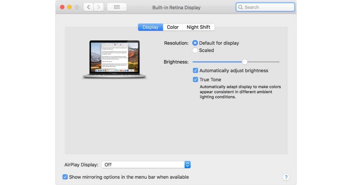 True Tone settings for display on 2018 Touch Bar MacBook Pro