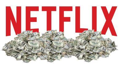 Netflix logo in a big pile of cash