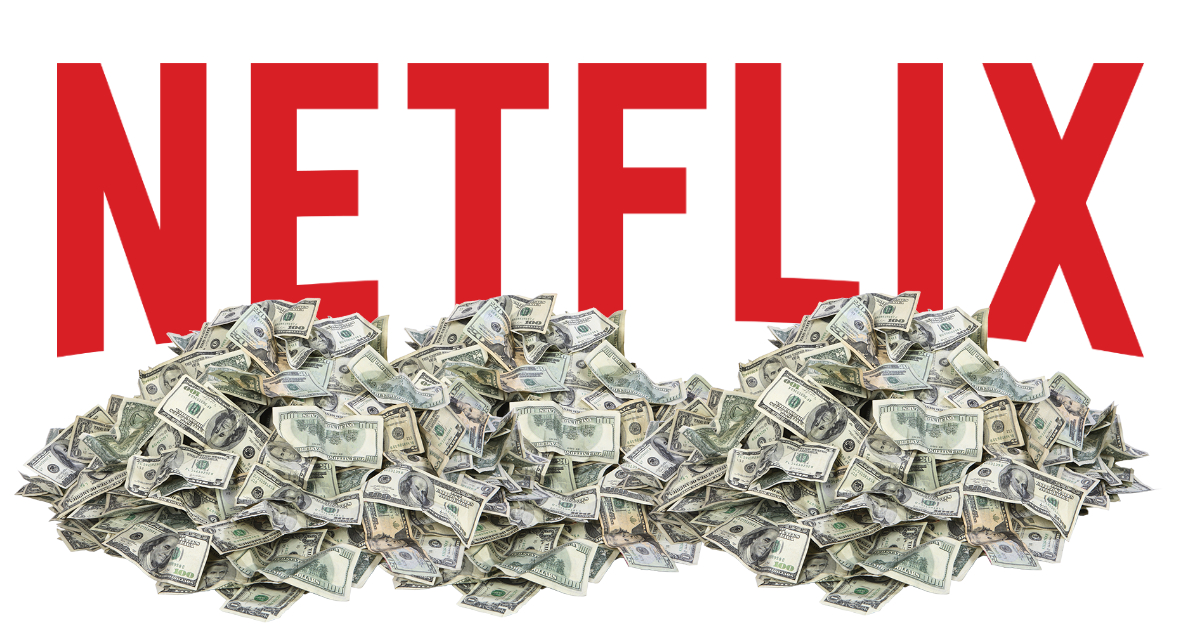Netflix logo in a big pile of cash