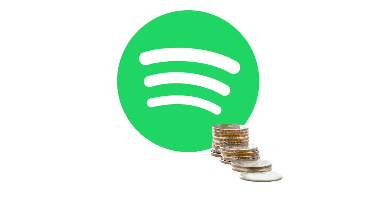 Spotify streaming music service with a small pile of coins