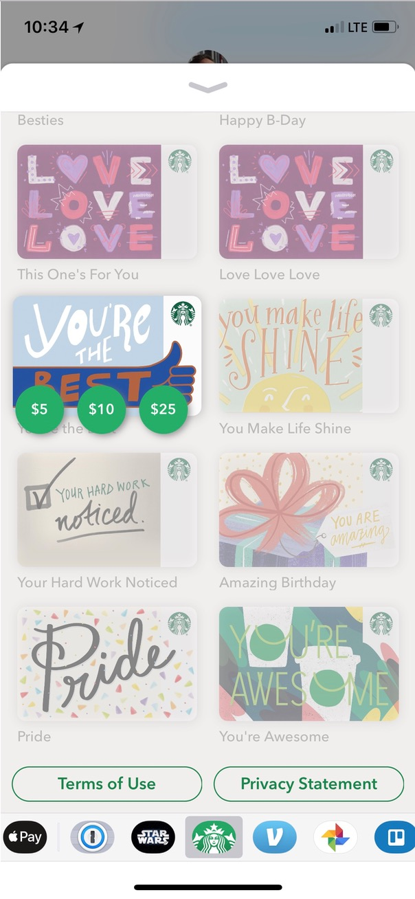 Choose Amount of Gift Card in Messages on iPhone