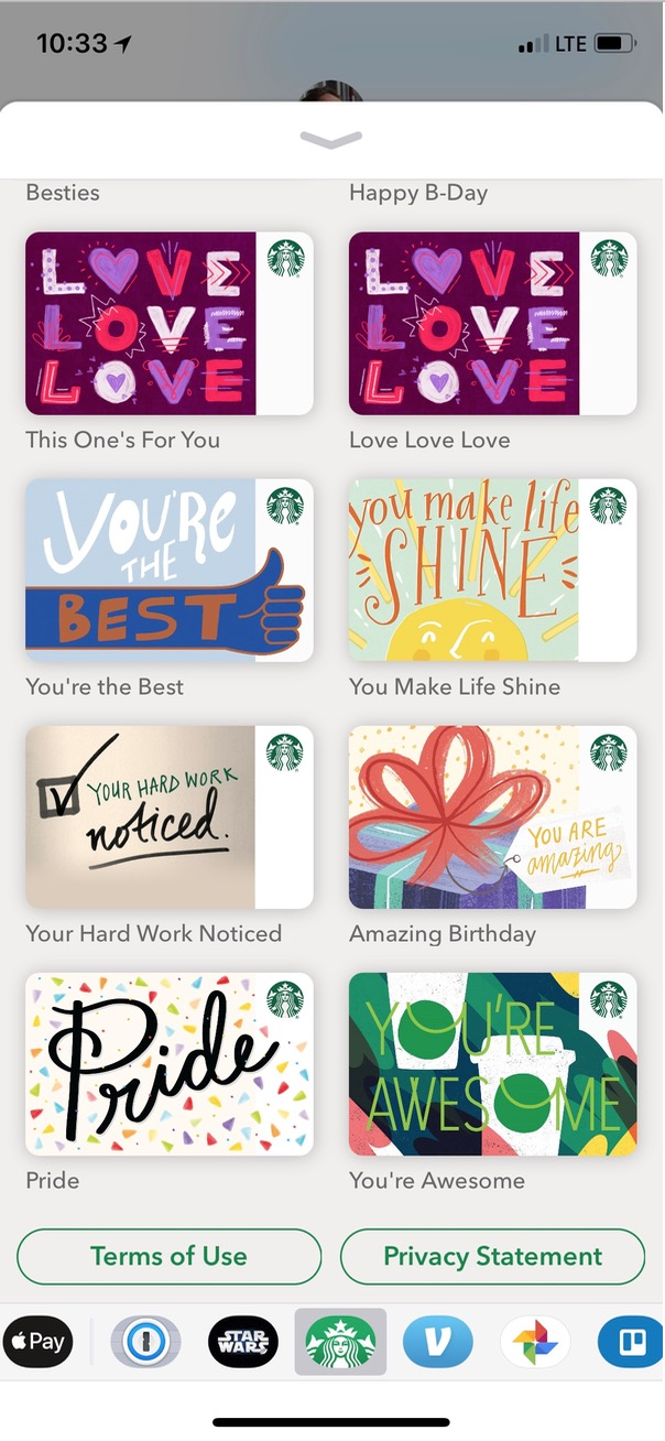 More Gift Card Options for Starbucks on iPhone