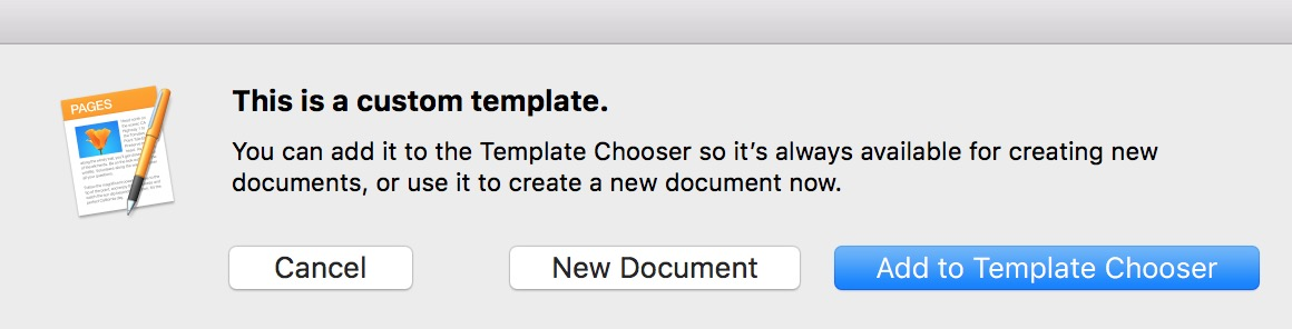 Pages Dialog Box When Template Is Opened on the Mac