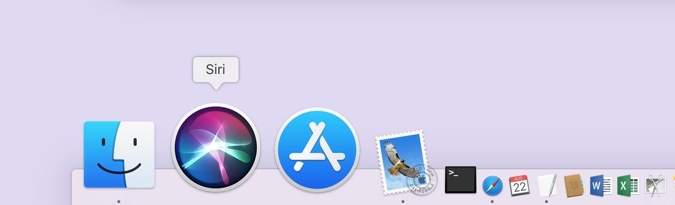 Siri in the Dock on the Mac