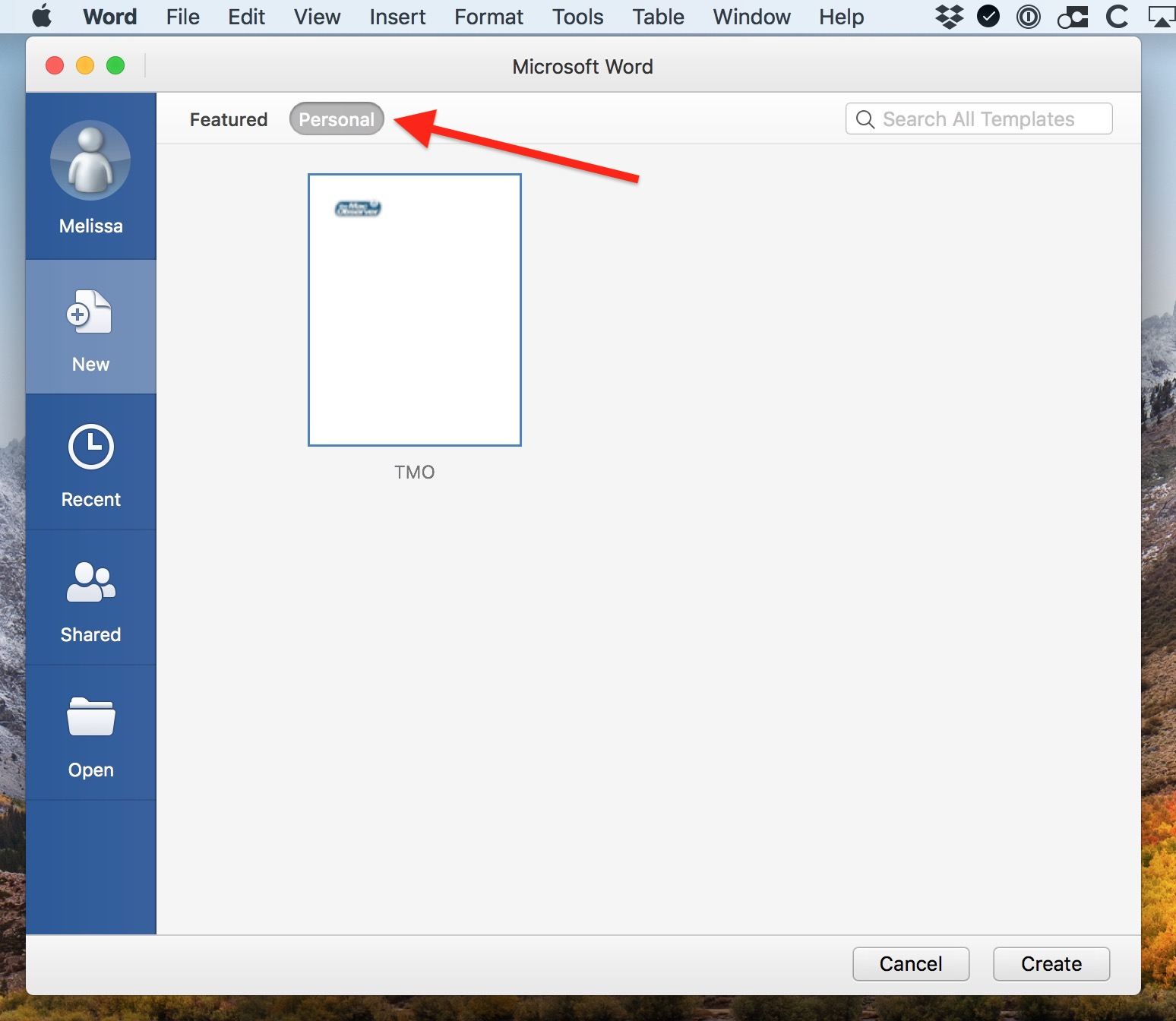 Personal Templates in Word on the Mac