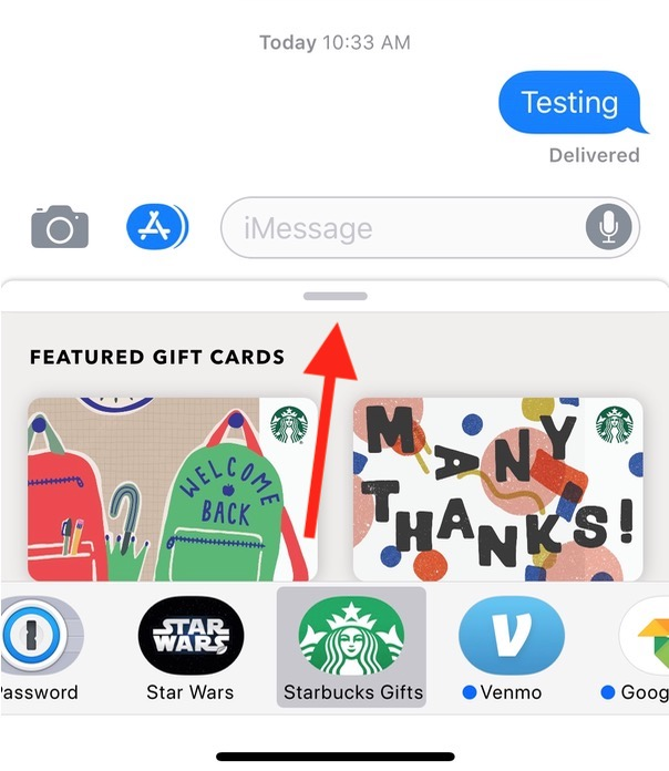 Gift Card Options for Starbucks on iPhone