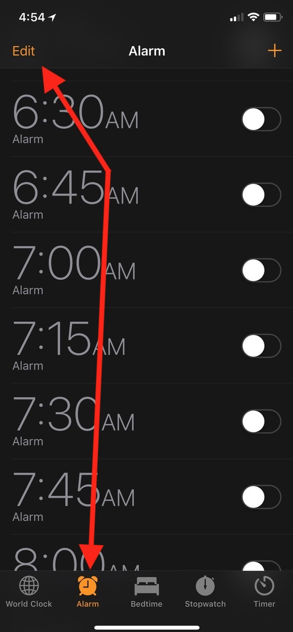Edit Button in Clock App on iPhone