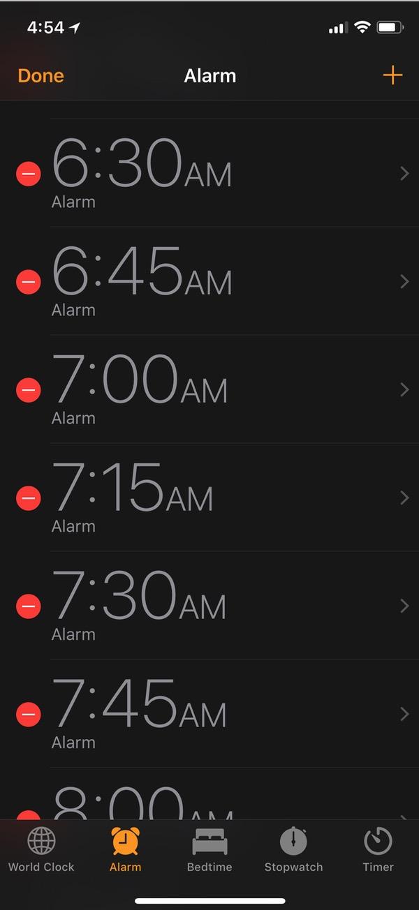 Edit Mode in Clock App on iPhone