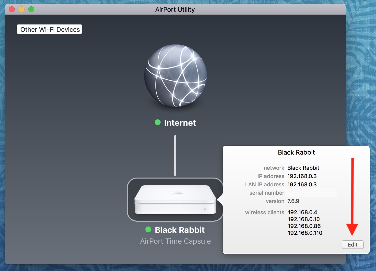 Edit Button on Info Window in AirPort Utility on the Mac lets you see Base Station details