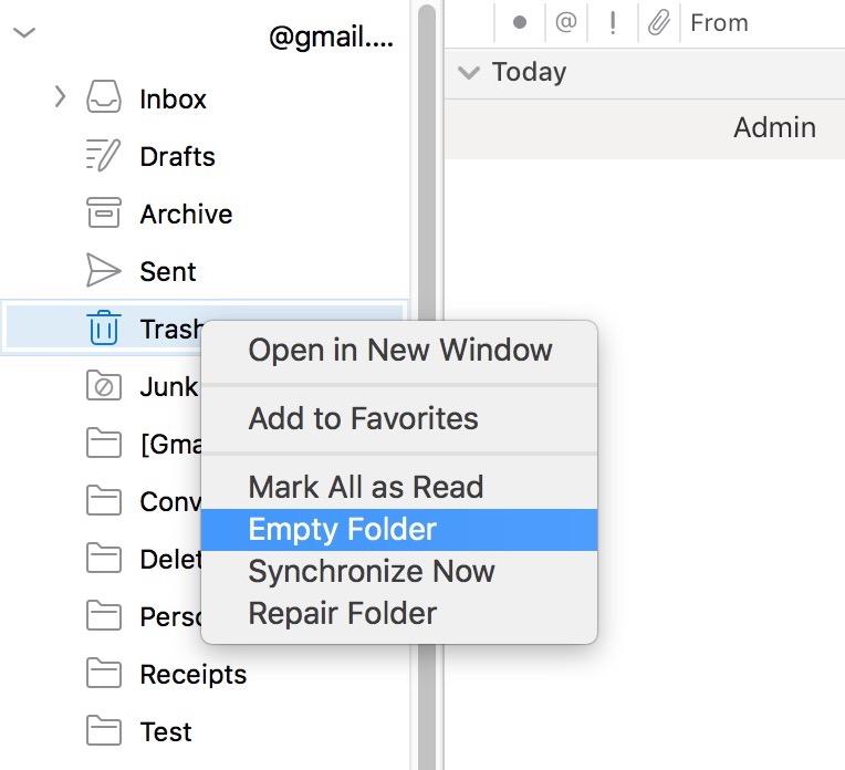 """""""Empty Folder"""" Option in Outlook"""