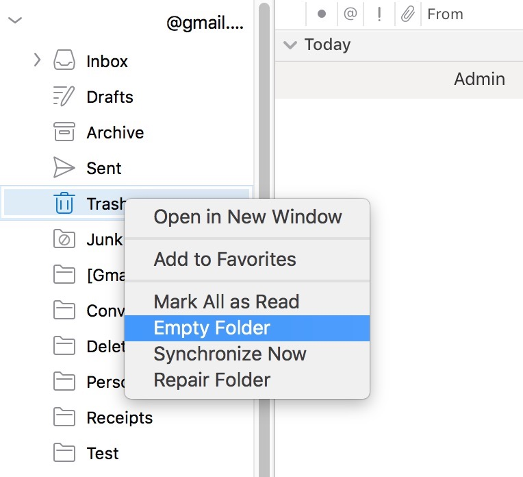 """Empty Folder"" Option in Outlook"