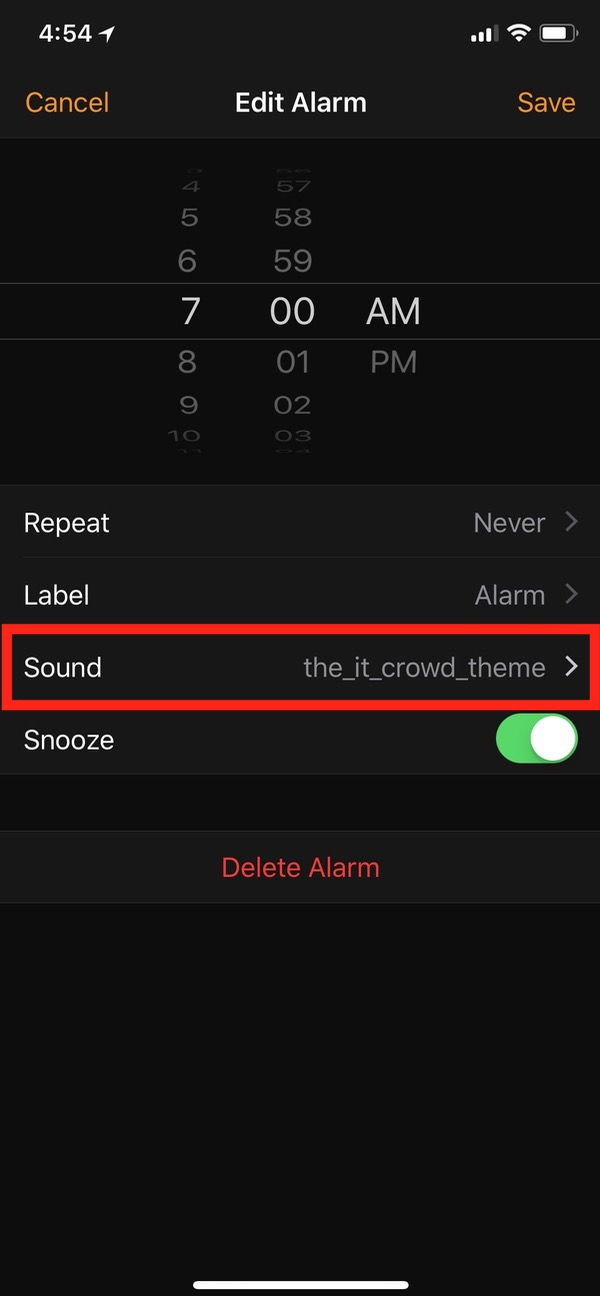 Sound Options in Clock App for alarms on iPhone