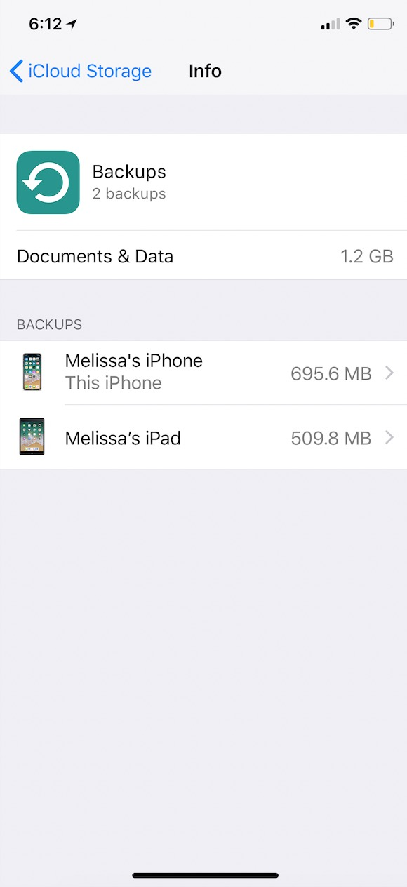 Info Screen on iOS Backups showing all device backups