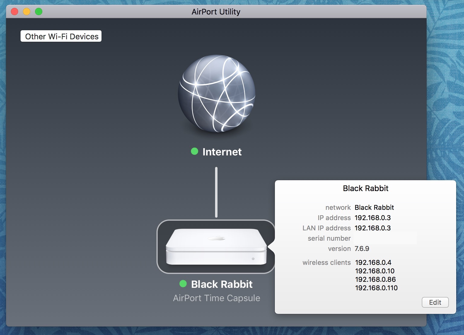 Apple AirPort Base Station Info in AirPort Utility app on the Mac