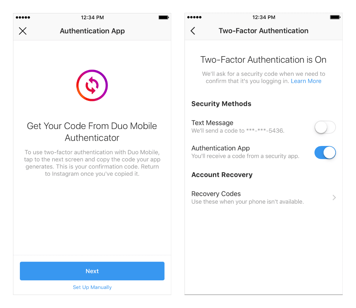 image of Instagram two-factor authentication