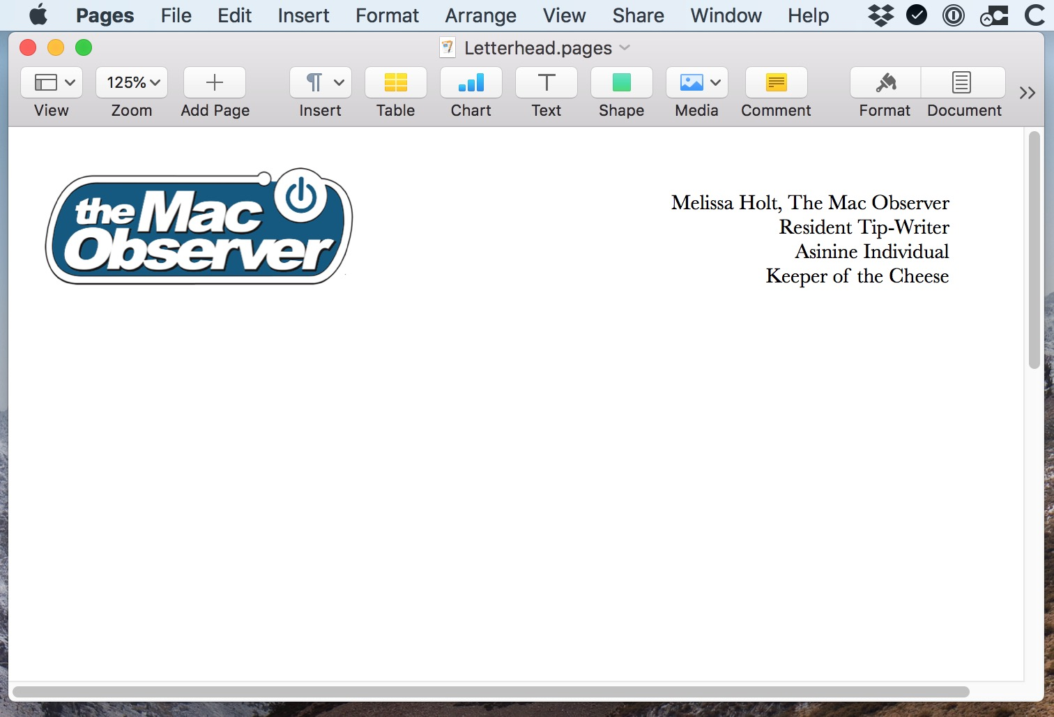 Letterhead document in Pages on the Mac