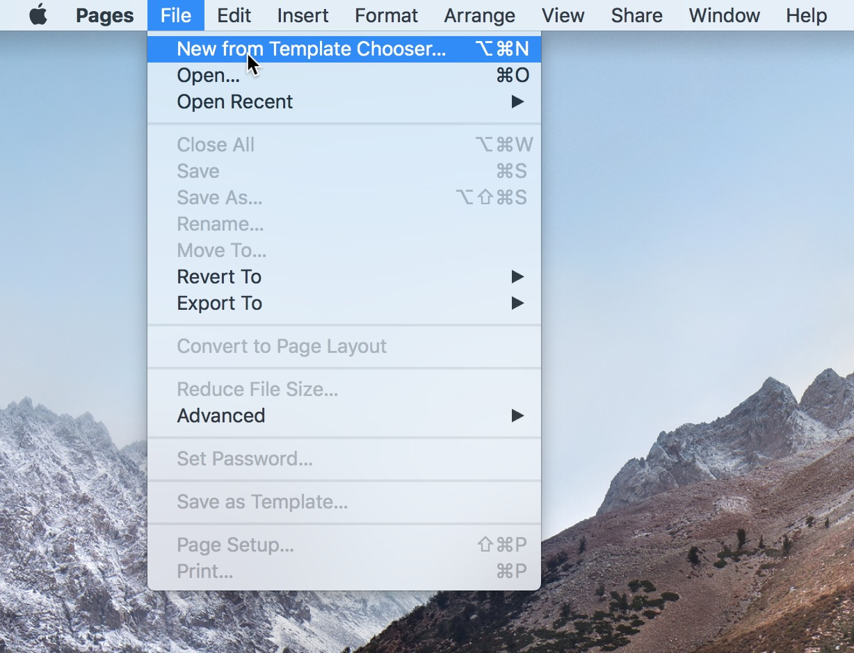 """""""New from Template Chooser"""" Option in Pages on the Mac"""